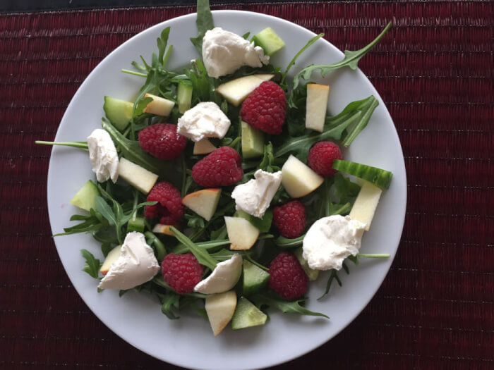 Rucolasalat med hindbær