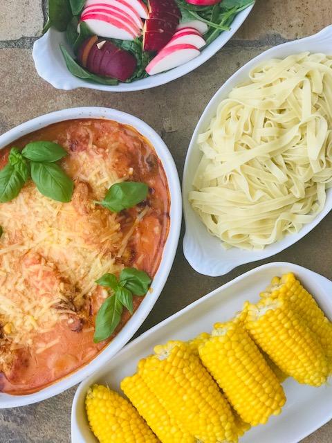 Kylling i pikantsauce med spinat og champignon