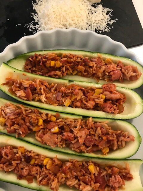 fyldte squash med bacon