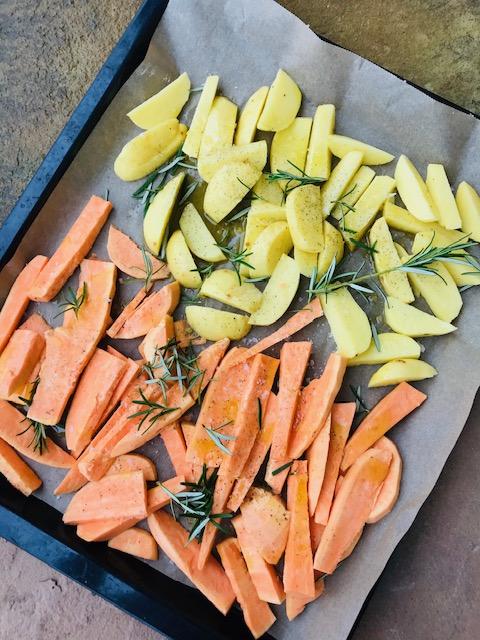 Ovnbagte søde kartofler- søde kartoffelfritter