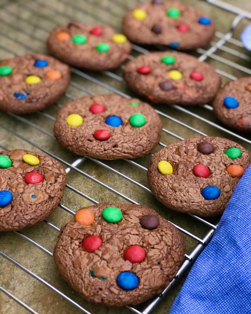 Cookies med m & m's og nutella