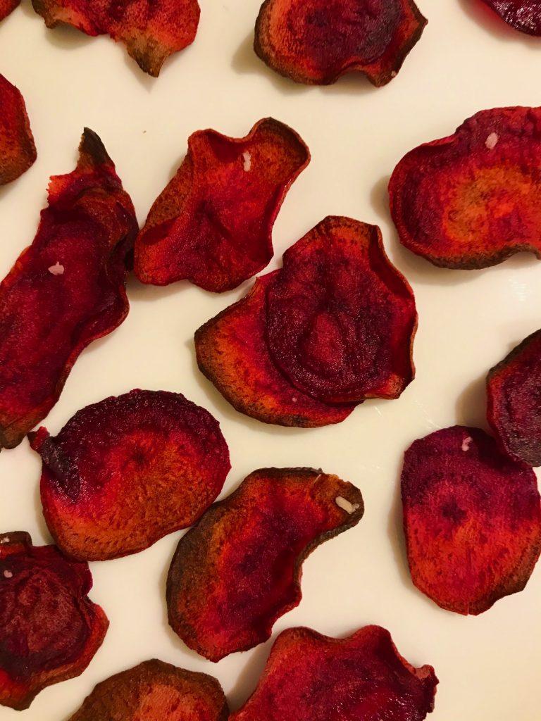 Rødbedechips i ovn