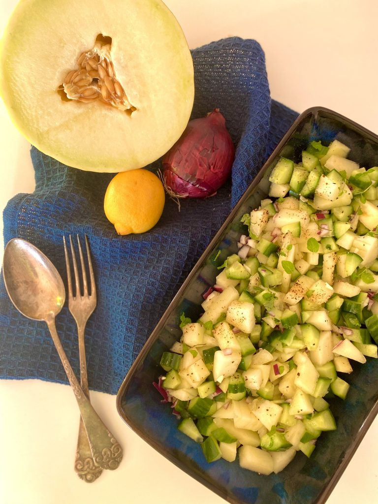 Salat med honningmelon og agurk