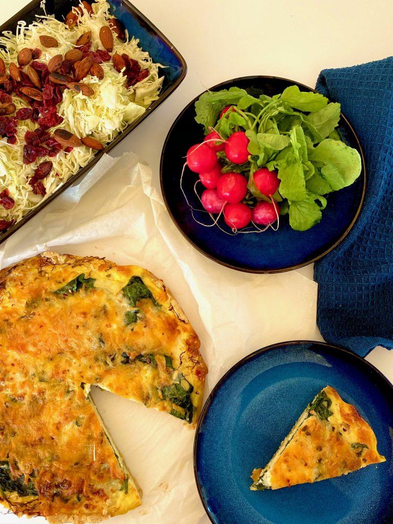 Madtærte med hytteost og grøntsager