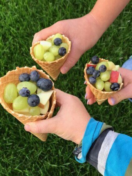 Vafler med frugt og bær