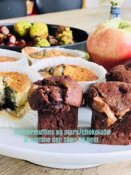 Kage med mars – og en med blåbær-En dej- to kager